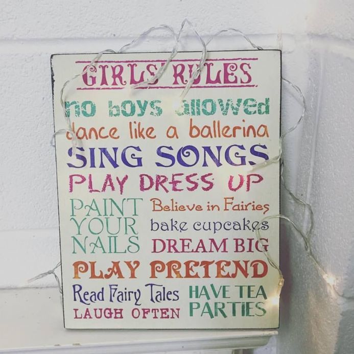 30% off Girls Rules Colourful Hanging Sign